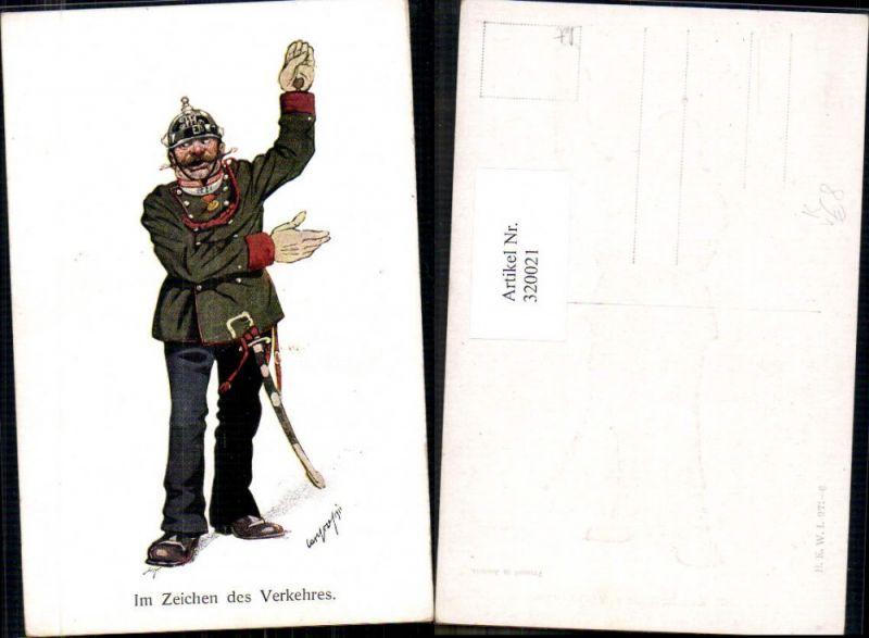 Künstler Ak Carl Josef Pollak Polizist Uniform Karikatur pub B.K.W.I. 971