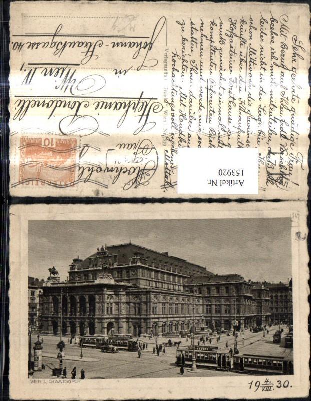 Wien 1 Staatsoper Oper Strassenbahn 1930 Passepartout