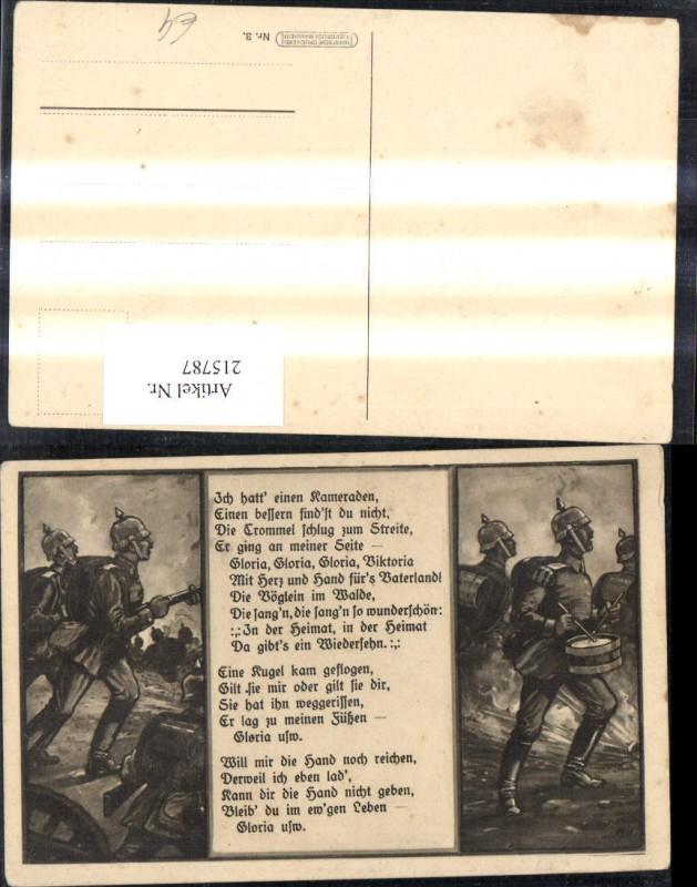 Künstler Ak K.k. Soldaten Militärmusik Pickelhaube Trommel Kampf Text Spr