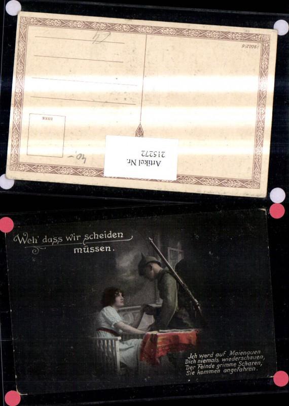 K.k. Soldat Pickelhaube Frau Abschied Spruch Text
