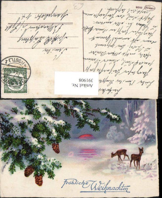 Künstler AK Weihnachten Winterlandschaft Rehe Baum Zapfen