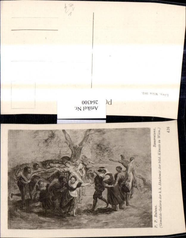 Künstler Ak Peter Paul Rubens Bauerntanz Leute Tanzen pub J. Löwy Wien 42