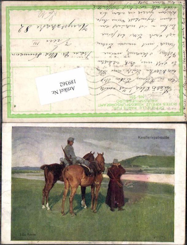 Kriegsfürsorge 251 Kavallerie Soldat Pferd Kavalleriepatrouille