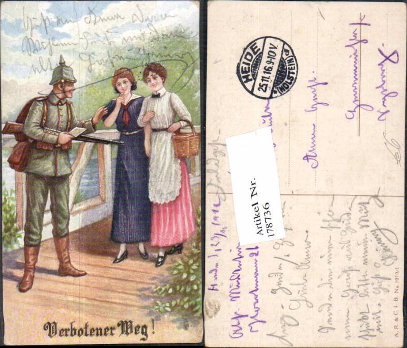 Soldatenhumor Humor Soldat Pickelhaube Frauen Brief Verbotener Weg Gewehr