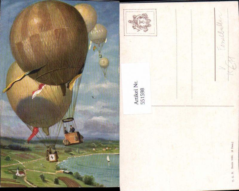 Künstler AK Ballon Verkehr Luftfahrt Aviatik Komet Fesselballon T.S.N.