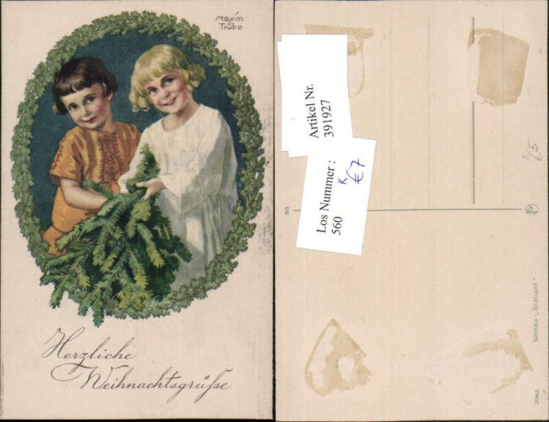 Künstler AK Maxim Trübe Weihnachten Kinder Tannenzweige Passepartout