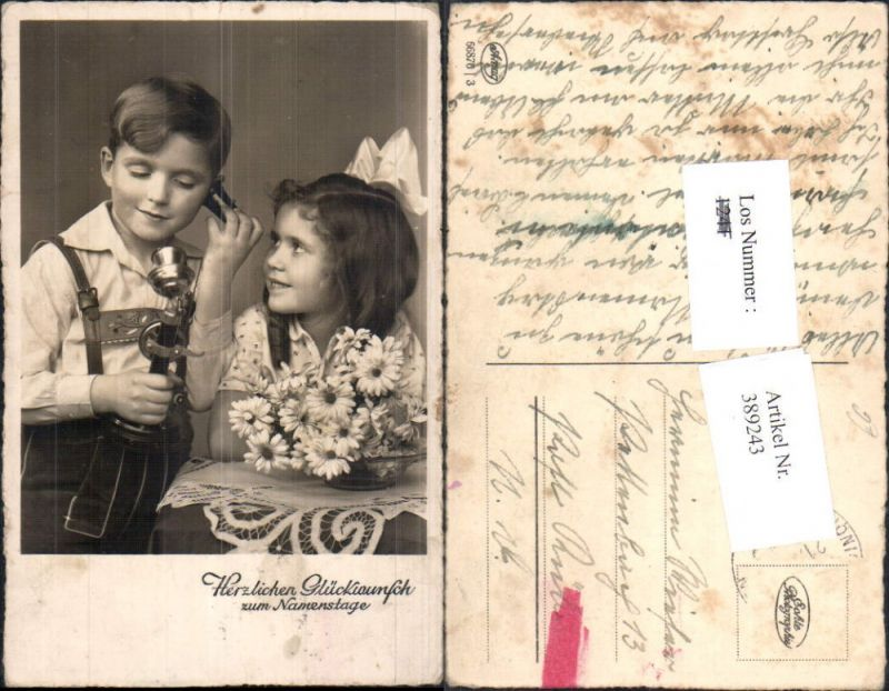 Foto Ak Technik Telefon Kinder Antiker Telefonhörer