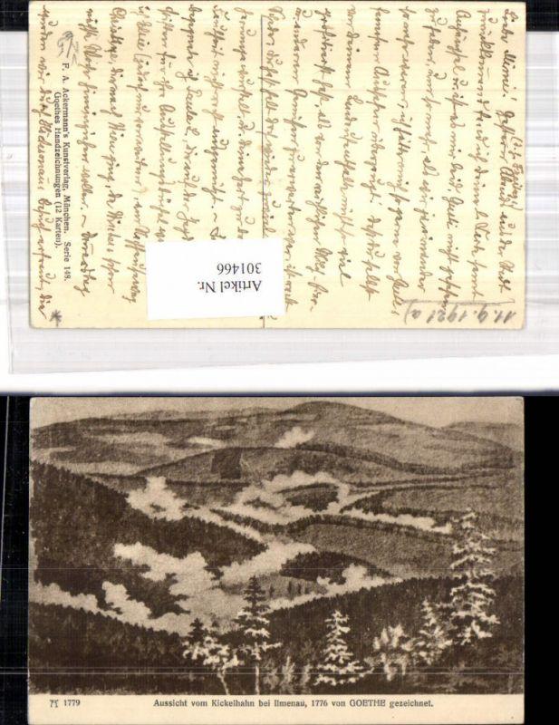 Künstler Ak Goethe Handzeichnung Aussicht v. Kickelhahn b. Ilmenau pub F.