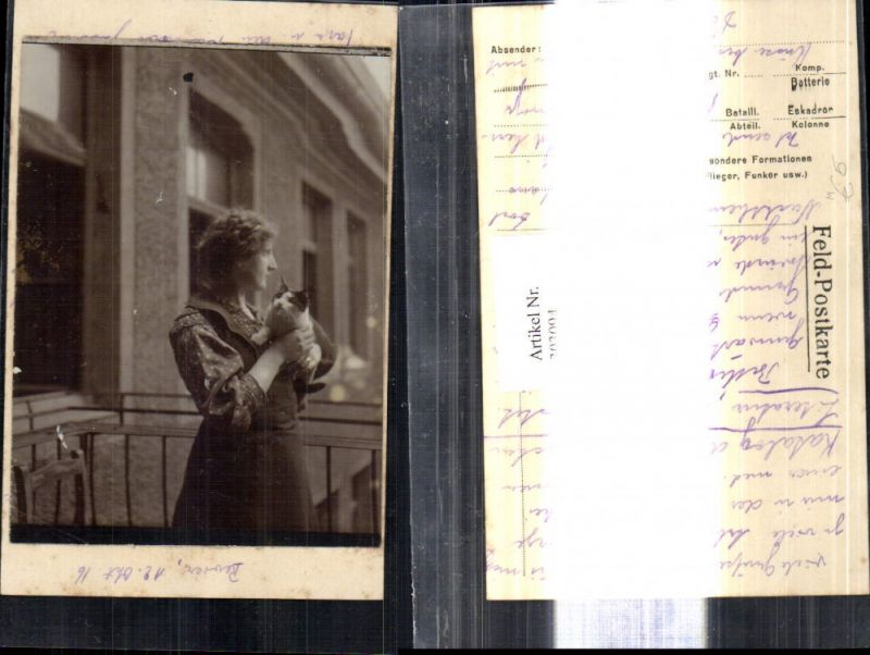 Foto a. Feldpostkarte geklebt Tiere Katze a. Arm Frau