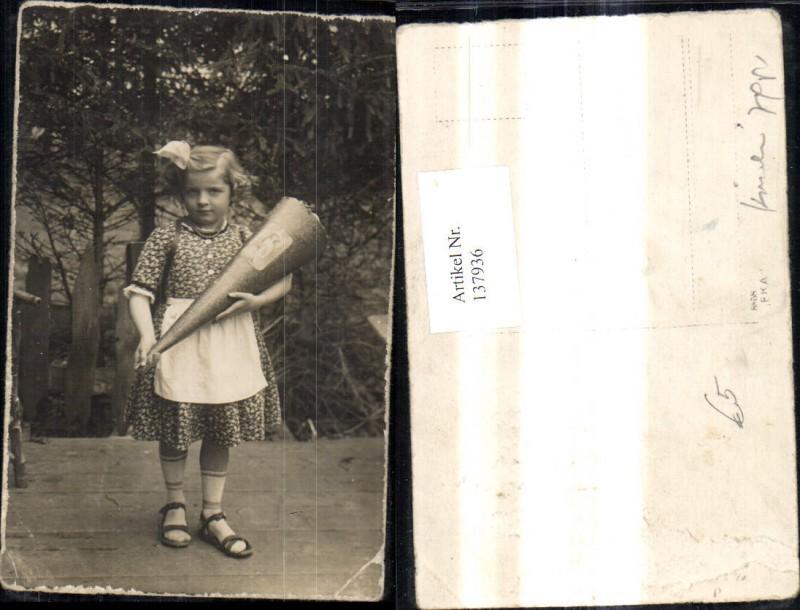 Foto Ak Mädchen Schule Schultasche Schultüte