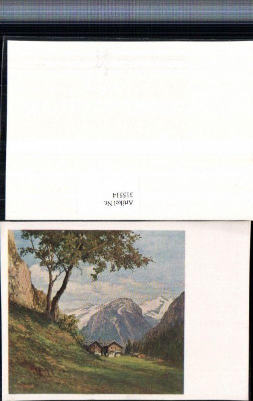 Künstlerkarte Richard Wagner Almhütten Bergkulisse