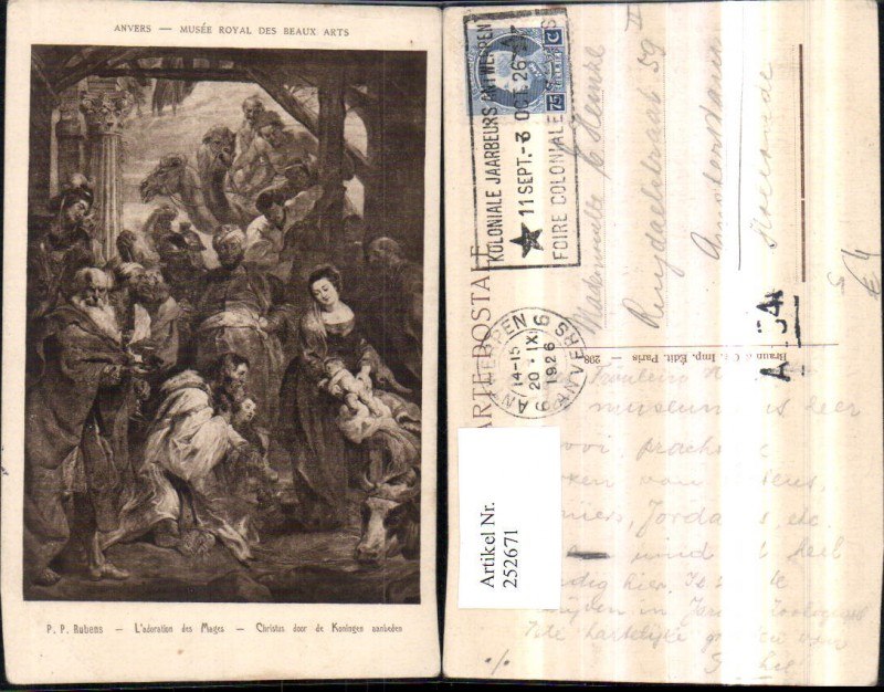 Künstler AK P. P. Rubens Christus door de Koningen aaanbeden Christuskind