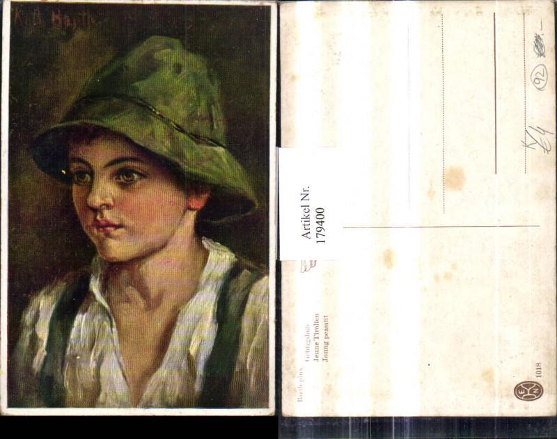 Künstler Ak Barth Kinder Gebirgsbub Bub Junge Hut Portrait
