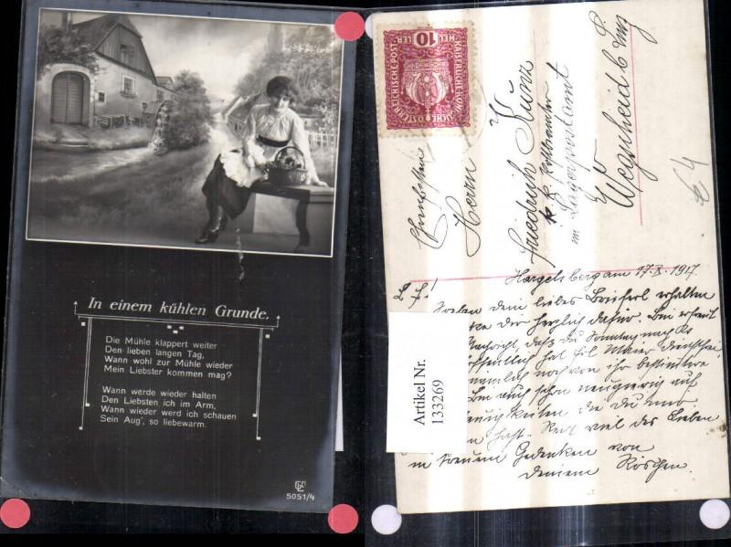 Wassermühle Mühle Leinwand Frau i. Vordergrund Spruch Text