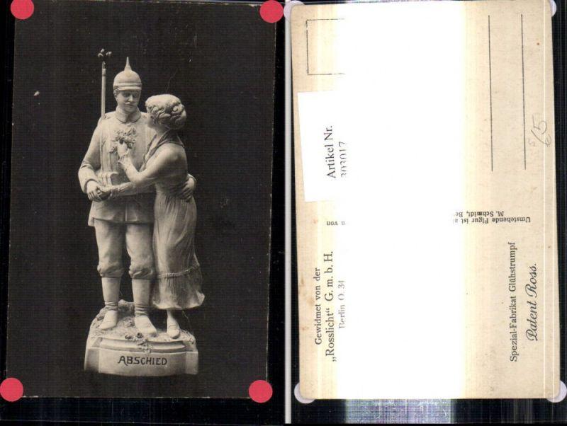 Künstler Ak WW1 Statue Soldat Pickelhaube m. Frau Reklame Patent Ross Spe