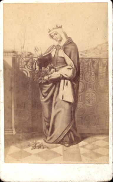 CDV Andachtsbild Heiligenbildchen Frau Königin Blumen