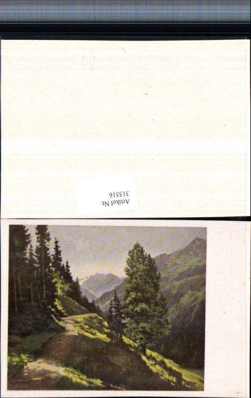 Künstlerkarte Richard Wagner Wegpartie Bergkulisse Wälder