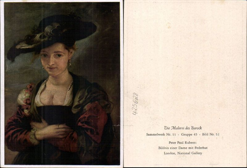 Künstler Ak Peter Paul Rubens Bildnis einer Dame m. Federhut Barock