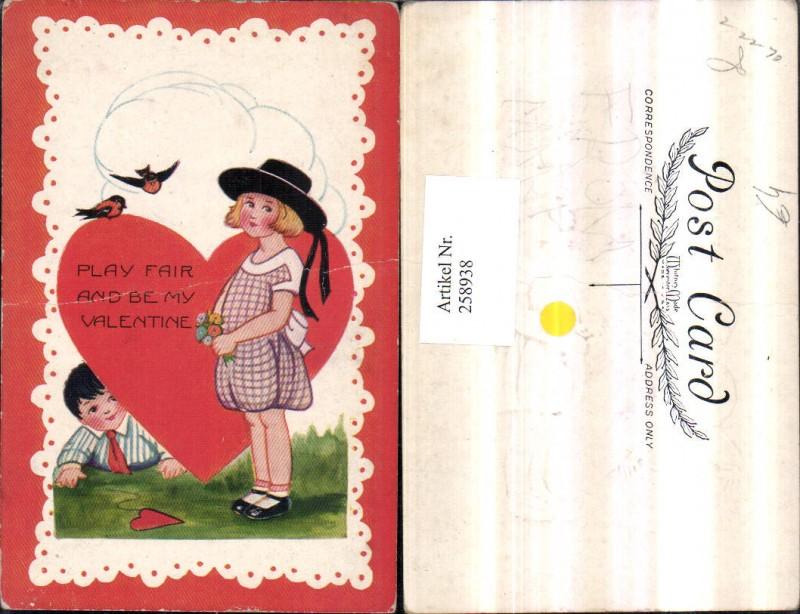 Präge AK Valentine Valentinstag Mädchen m. Hut Blumenstrauß Junge Bub Her