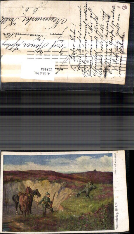 WW1 K.k. Künstler Ak Völkerkrieg 1914/15 Ulanen auf Vorposten Schützengra