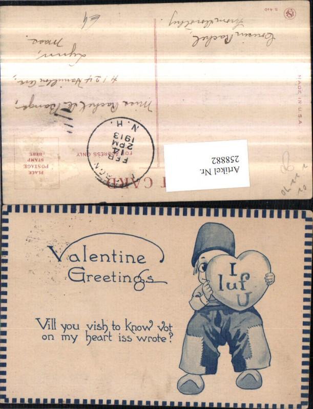 Valentine Greetings Valentinstag Holländischer Bub Junge Pantoffeln Herz