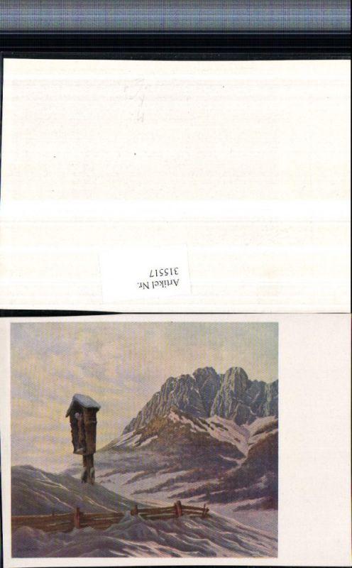 Künstlerkarte Richard Wagner Bergkulisse Wegkreuz Winterbild
