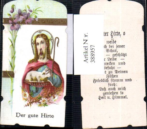 Andachtsbild Heiligenbildchen Jesus der gute Hirte Schaf Lamm Hirtenstab