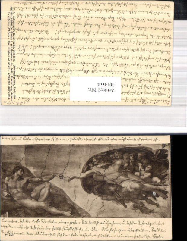 Künstler Ak Michelangelo Sixtina I Erschaffung Adams pub F. A. Ackermann