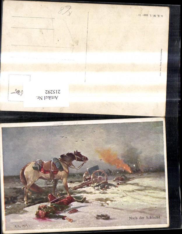 Künstler Ak K.k. Soldat nach d. Schlacht Pferd Geschütz