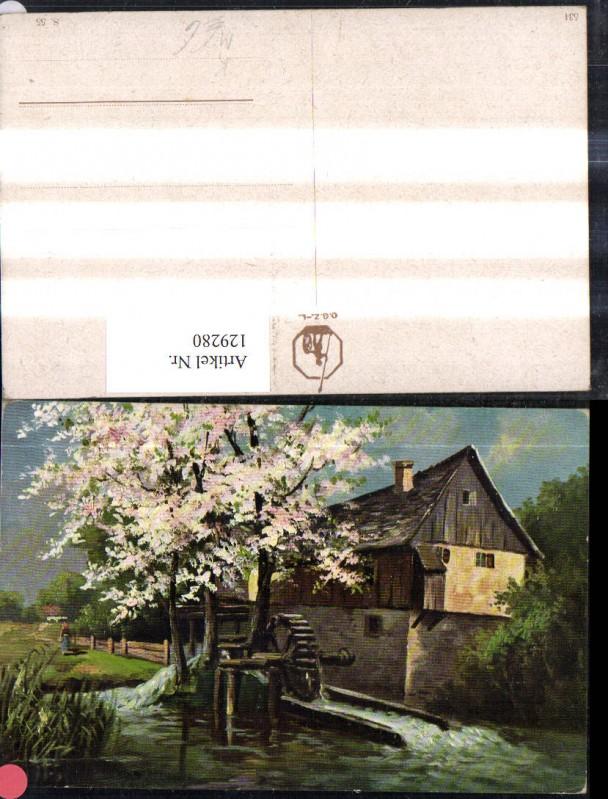 Künstler Ak Wassermühle Wasserrad Mühle