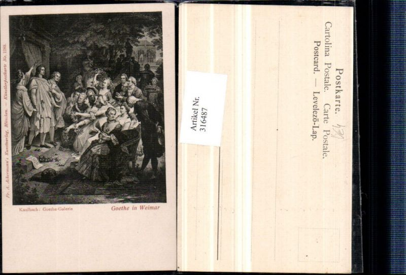 Künstler AK Kaulbach Goethe in Weimar Personen pub A. Ackermann 1289