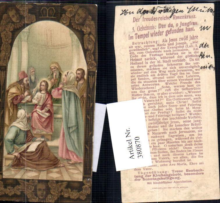 Andachtsbild Heiligenbildchen Rosenkranz Jesuskind Josef Maria i. Tempel