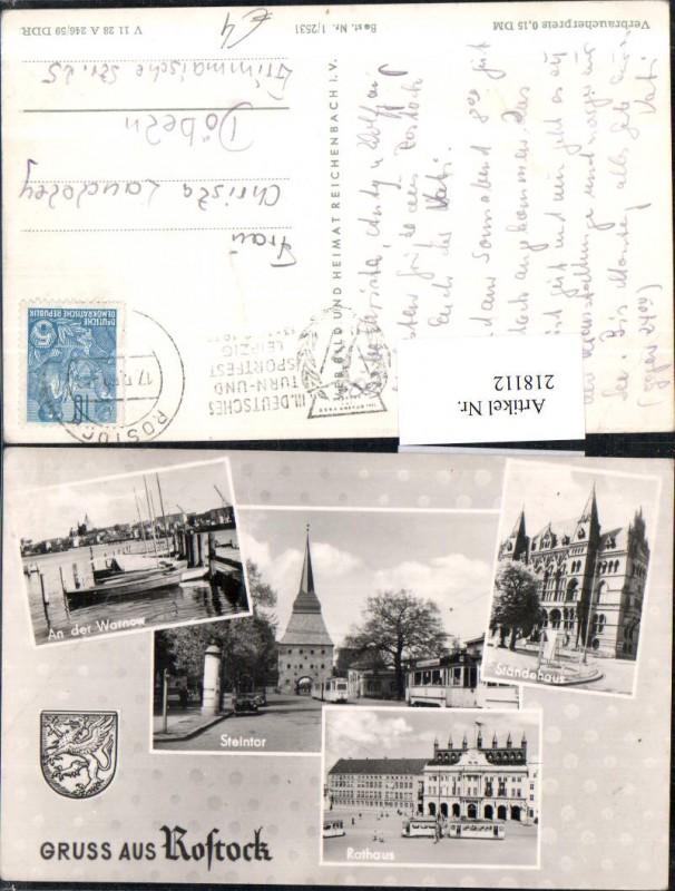 Gruß aus Rostock Steintor Ständehaus Rathaus An d. Warnow Mehrbildkarte