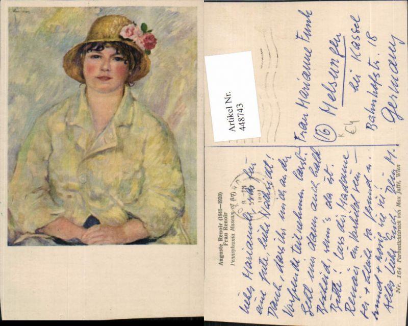 Künstler AK Auguste Renoir Frau Renoir Hut Blumen Portrait