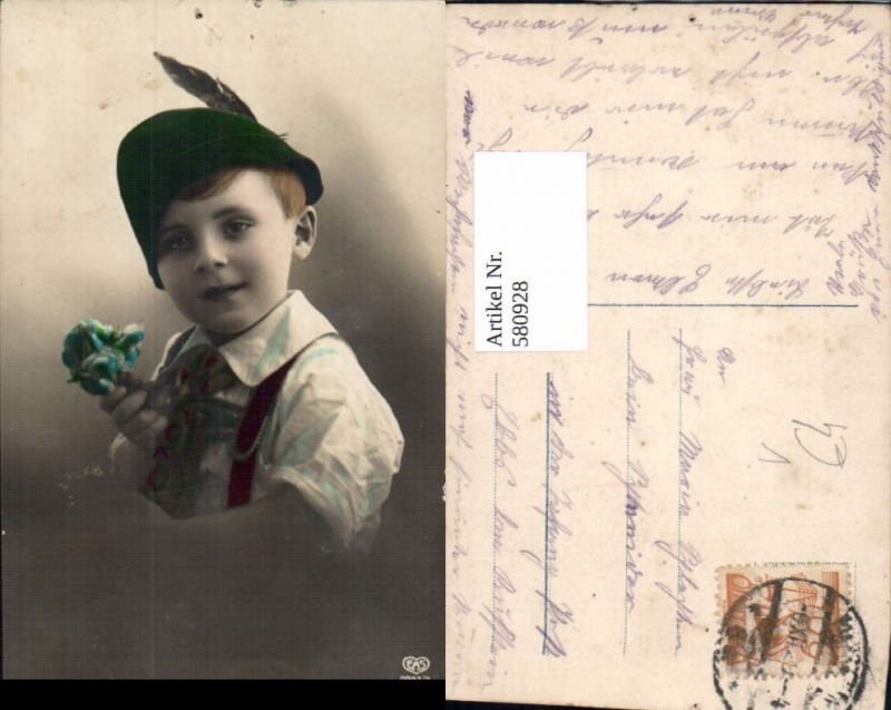 Kind Junge Bub Portrait Hut Federhut pub EAS 7323/3