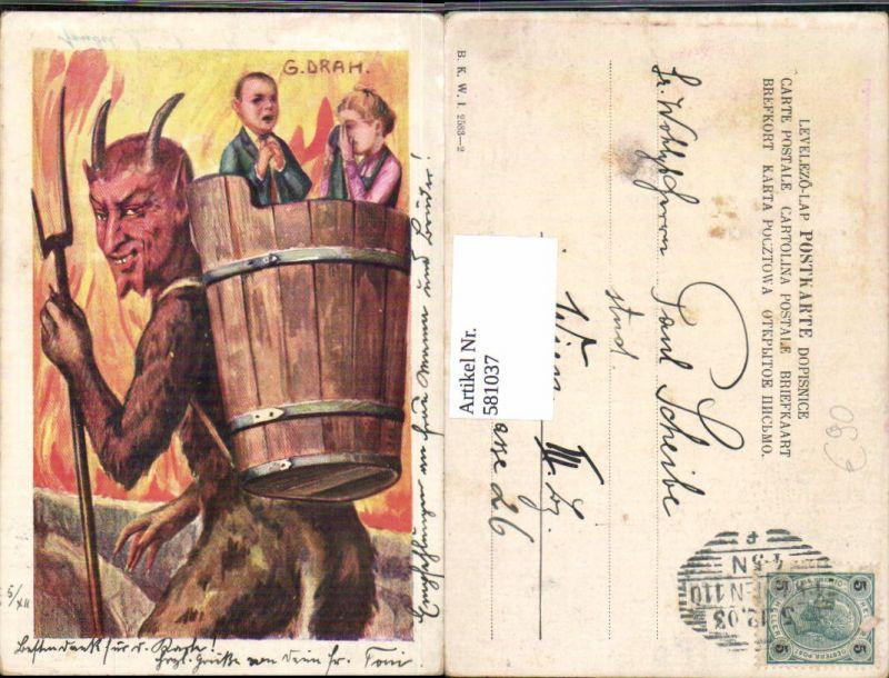 Tolle Künstler AK G. Drah Krampus Kinder Korb Feuer B.K.W.I. 2583-2