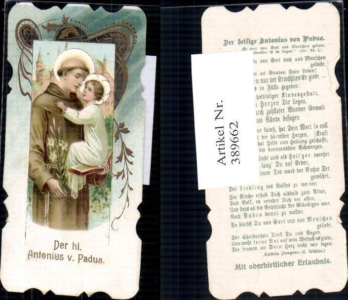 Andachtsbild Heiligenbildchen Der hl. Antonius v. Padua Mönch Jesuskind
