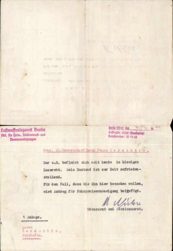 Waffen SS Waidhofen an der Ybbs Luftwaffenlazarett Berlin Meldung Beleg