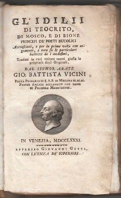THEOCRITUS., Gl' Idili di Teocrito, di Mosco, e... 1781