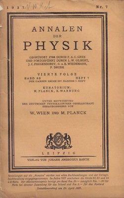 (WIEDEMANN'S) ANNALEN DER PHYSIK. Hrsg. v. W.... 1927