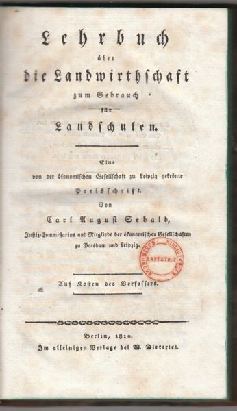 SEBALD, Lehrbuch über die Landwirthschaft zum... 1810