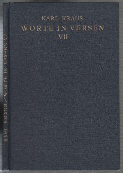 KRAUS, Worte in Versen VII. 1923