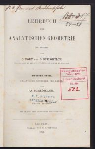 FORT, Lehrbuch der Analytischen Geometrie. 1872