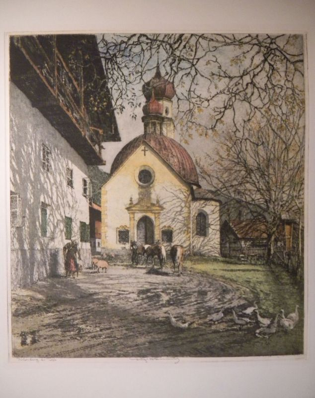 Birkenberg bei Telfs. KASIMIR, Luigi. Graphiker (1881-1962).