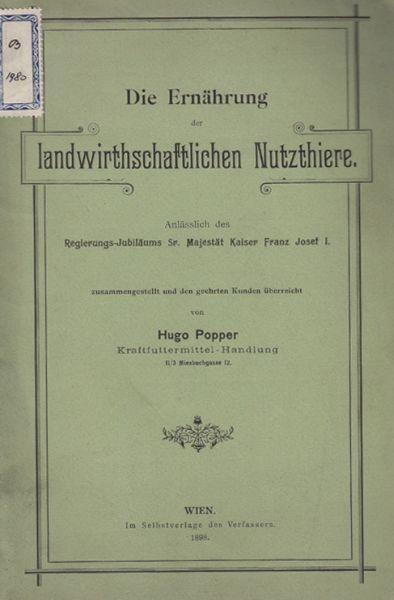 POPPER, Die Ernährung der landwirthschaftlichen... 1898