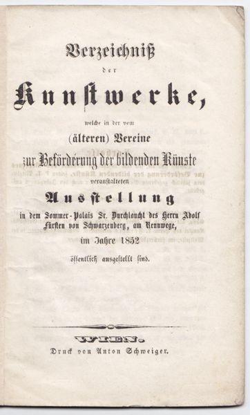 Verzeichnis der Kunstwerke, welche in der vom... 1852
