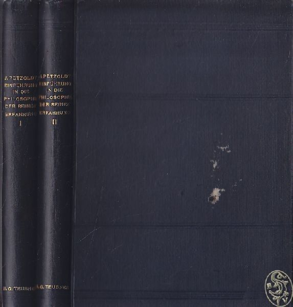 PETZOLDT, Einführung in die Philosophie der... 1900
