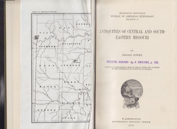 FOWKE, Antiquities of Central and South Eastern... 1910