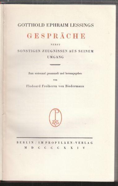 LESSING, Gotthold Ephraim Lessings Gespräche... 1924