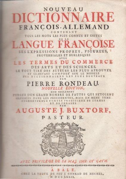 RONDEAU, Nouveau Dictionnaire Francois-Allemand... 1739